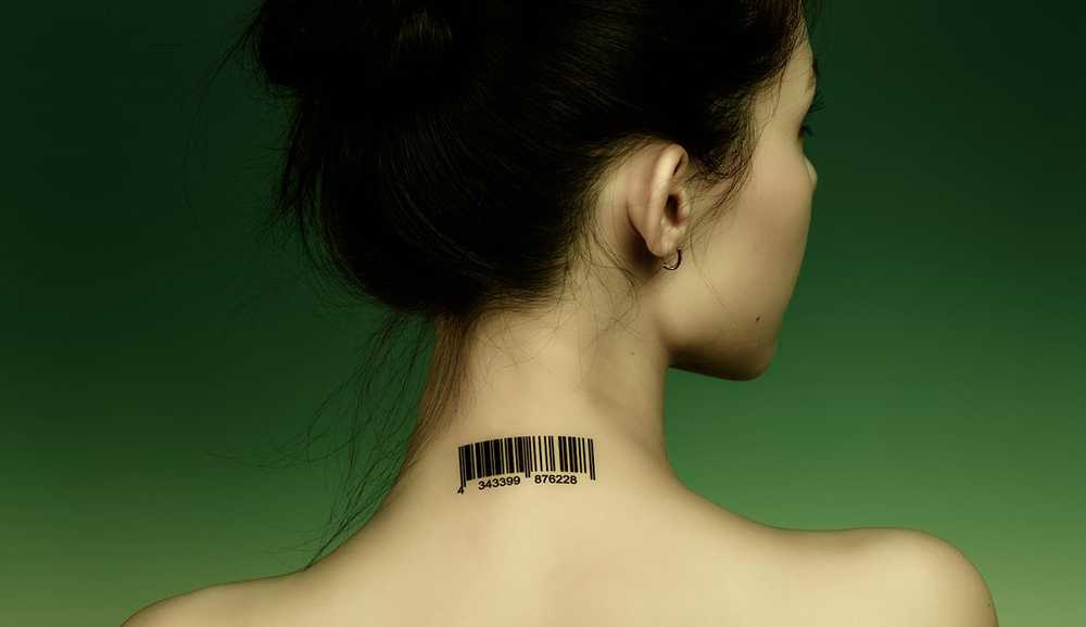 Awesome code bar lady neck tattoo