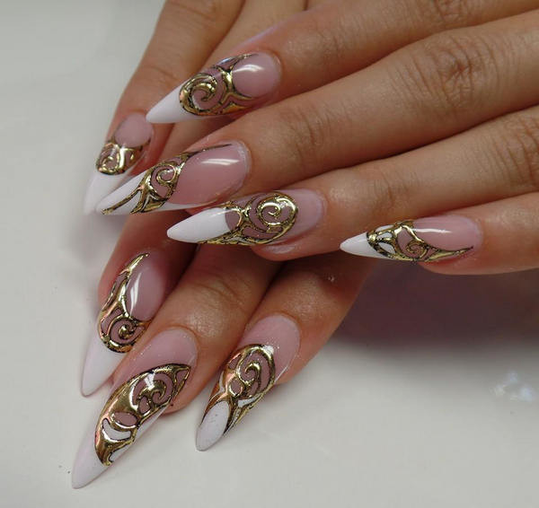 5-white-french-gold-tribal-nails